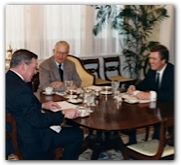 Hobby with Gov. Bill Clements and Speaker Gib Lewis at one of their weekly breakfasts during the legislative session, c. 1988. Photograph by Bill Malone, governor's office.